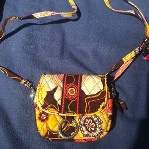 Vera Bradley cross body purse- brown/yellow/pink